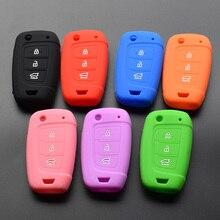 Protection télécommande à 3 boutons, en Silicone, pour voiture Hyundai Solaris 2 Elantra i30, i35, i40, Tucson Kona (2017, 2018)