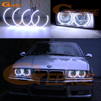 For BMW E36 318I 323I 325I 328I 1992-1998 Euro headlight Excellent Ultra bright COB led angel eyes kit halo rings image