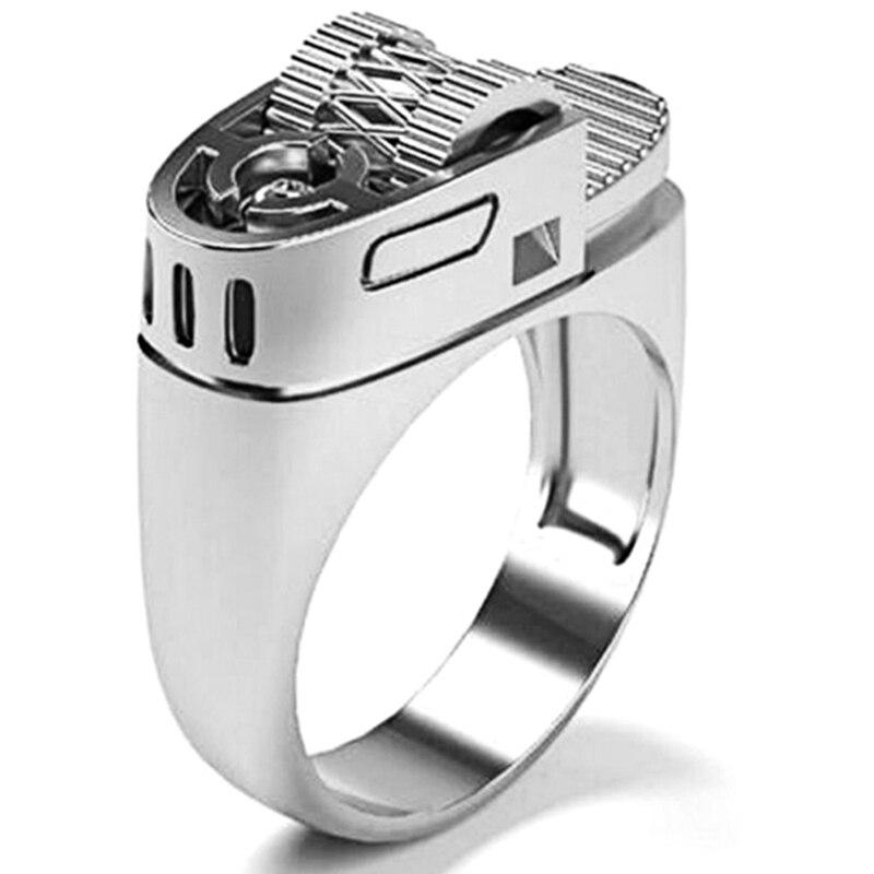 Модное крутое кольцо, прибытие, крутой стиль, байкерское серебряное полировочное посеребренное кольцо, мужское кольцо с зажигалкой