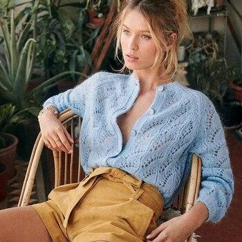 Super Chic Mohair Jumper Cardigan Autumn winter Women Sweater Wool Jumper Top with Buttons 1