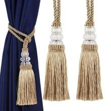 2Pcs Crystal Beads Tassel Hanging Ball Curtain Tieback Rope Craft Tassels Pendant DIY Curtain Accessories Room Decoration