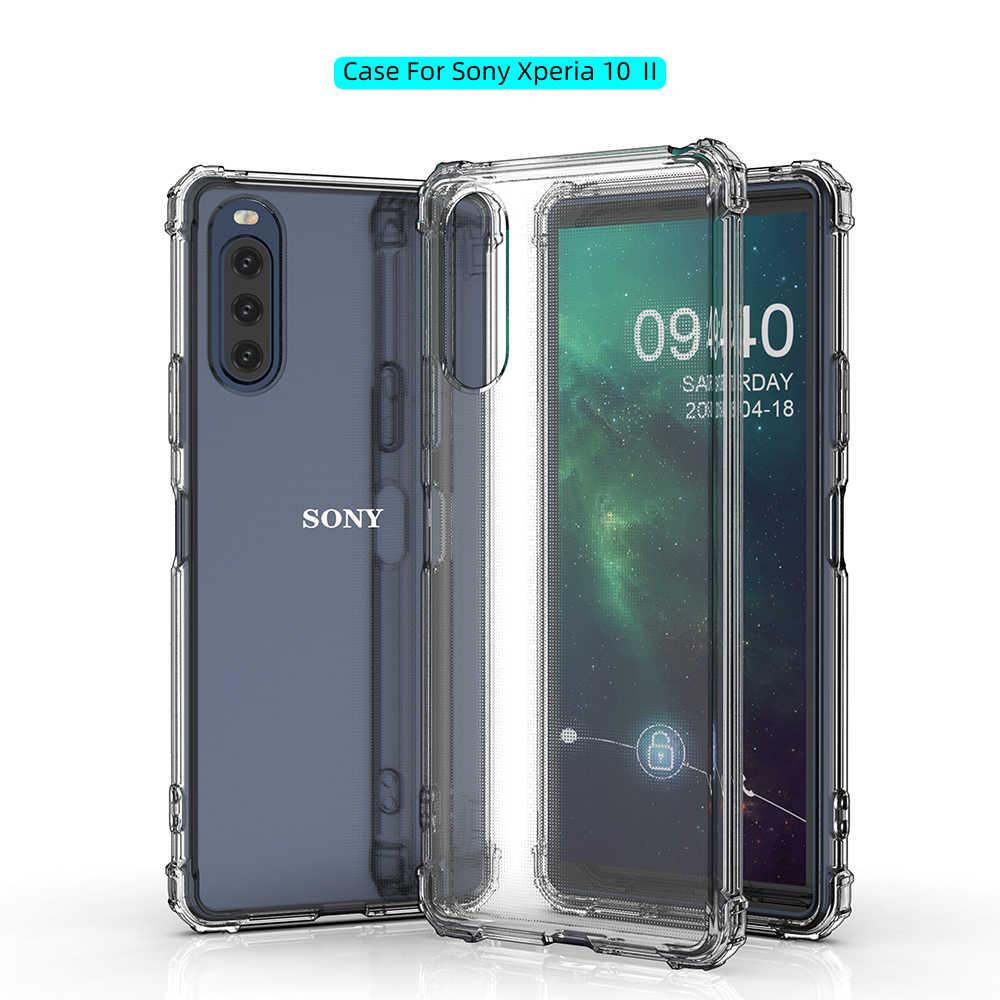 Capa de celular macia de tpu, capa de celular à prova de choque transparente para sony xperia 1 ii 10 ii 5 8 xperia xa2 plus xa3 ultra xz2 xz3 xz4 capa de silicone proteger