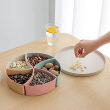 Tray Storage Organizer Five-Compartment Box Household Desktop Dried Fruit Disk Round Wheat Straw