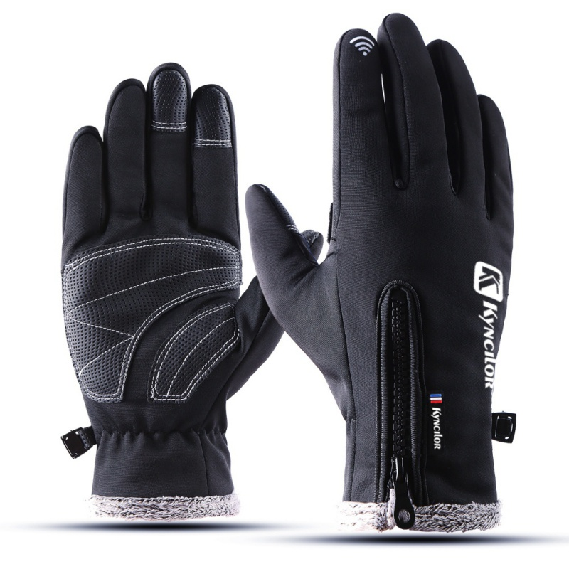 Unisex Touch Screen Cycling Gloves Winter Waterproof Thickness Warm Zippered Adjustable Full Finger Gloves For Ski