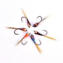 6 pçs gancho tungstênio perdigon nymph pequenos beadheads voar arco-íris brown truta grayling truta pesca rápida pia mosca