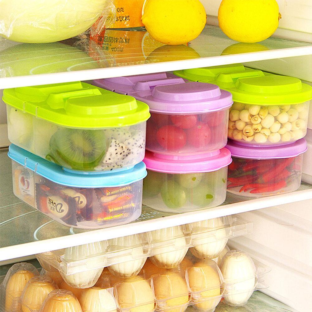 Container Storage-Box Kitchen Transparent PP Pc Food 1-Pcs Double-Grids Cereal