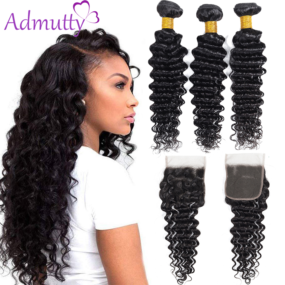 Brazilian Hair Weave Bundles With 4x4 Lace Closure Deep Wave Bundles With Closure Double Machine Weft Non Remy Hair Weave