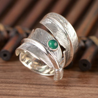 S925 pure silver feather ring, green stone Mosaic rotating feather ring, men and women with adjustable ring