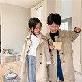 Koreanischen stil Frühling unisex mode khaki lange graben jacken Jungen und mädchen baumwolle übergroßen casual mäntel