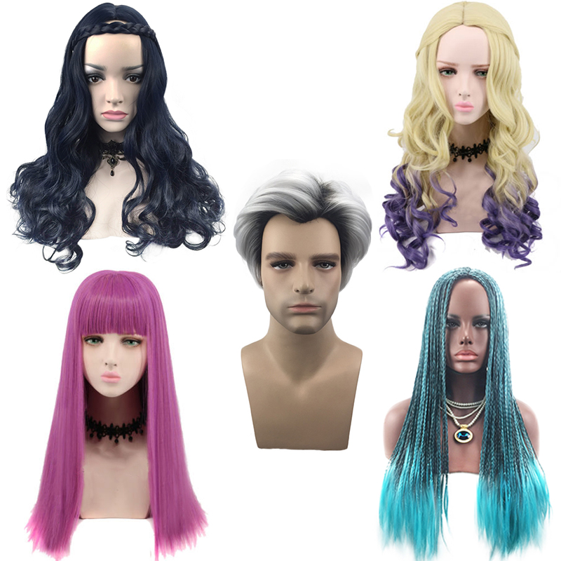 Movie Descendant 2 Series Wig Cosplay Costume For Adult Women Men Halloween Party Evie/Mal/Uma Synthetic Role Play Wigs C38531AD