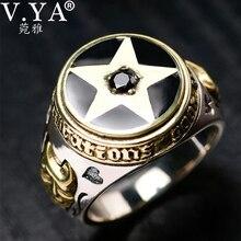 V. יה 925 סטרלינג כסף הפוך פנטגרם טבעת לגברים עם טבעי אבן מחומש טבעות תכשיטי אופנה גברים טבעת