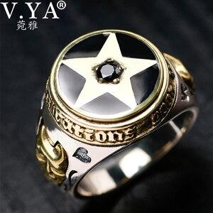 Image 1 - V.YA 925 Sterling Silber Invertiert Pentagramm Ring für Männer mit Naturstein Pentagramm Ringe Schmuck Mode Männer Ring