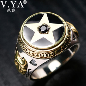 Image 1 - V.YA 925 Sterling Silver Inverted Pentagram Ring for Men with Natural Stone Pentacle Rings Jewelry Fashion Men Ring