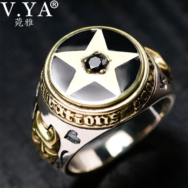 V.YA 925 Sterling Silver Inverted Pentagram Ring for Men with Natural Stone Pentacle Rings Jewelry Fashion Men Ring