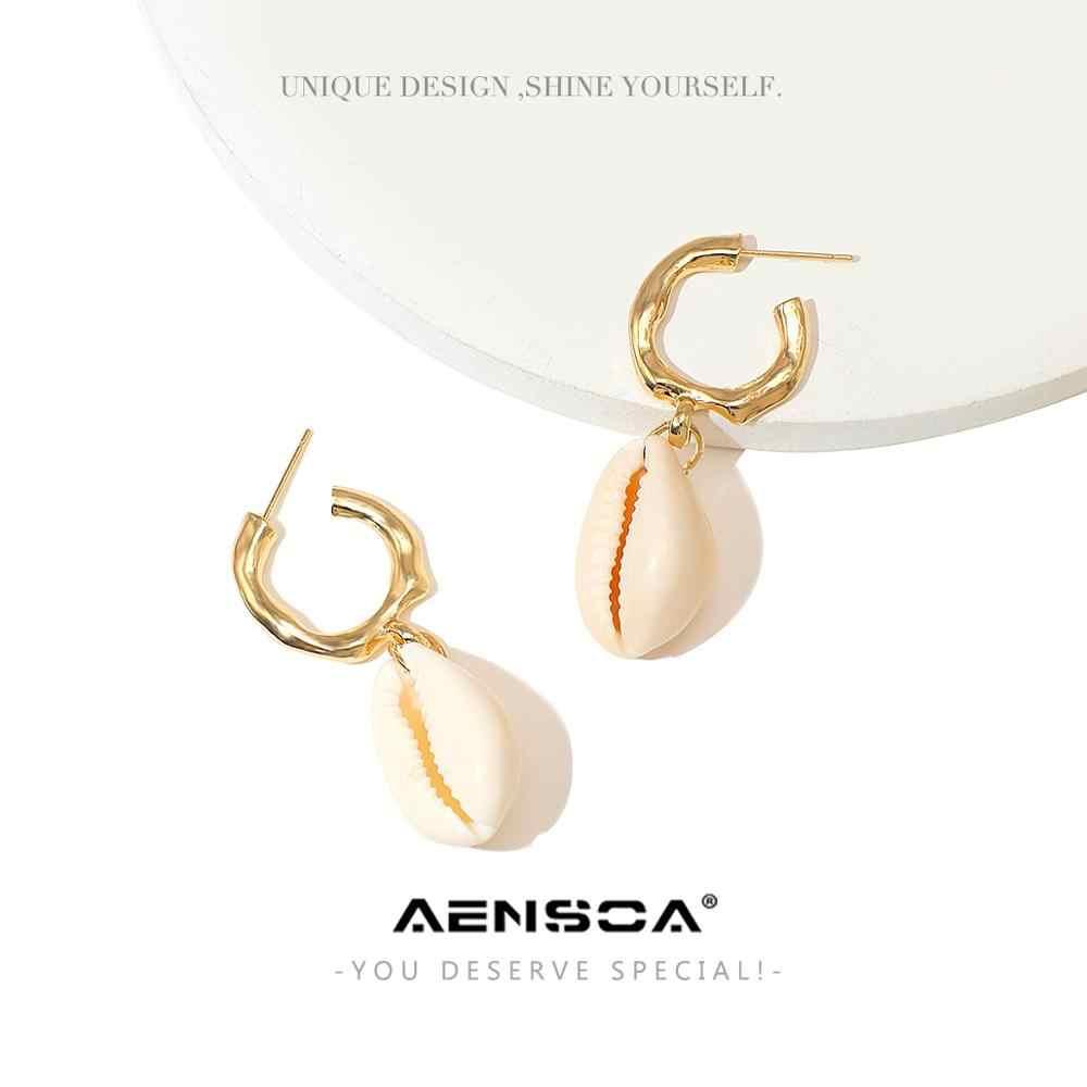 AENSOA Elegan Shell Alloy Drop Anting-Anting   Lucu Chic Menjuntai Anting-Anting untuk Wanita Pesta Pernikahan Hadiah Perhiasan Tidak Beraturan