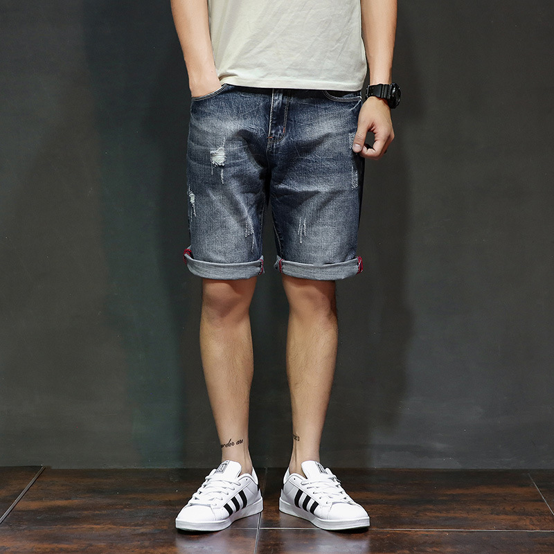 2019 Summer With Holes Knee-length Denim Shorts