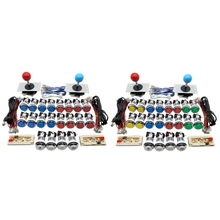 Usb-Encoder Arcade-Game Joystick-Kit Coin-Button Zero Delay 1/2-Player Chrome 5V DIY