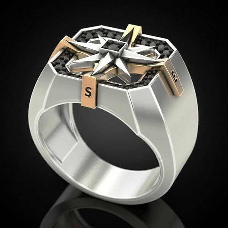 Men's Vintage 925 Silver Viking Compass Seal Ring Gift Jewelry Ring Wholesale Silver 925 Jewelry For Men Size 7-12