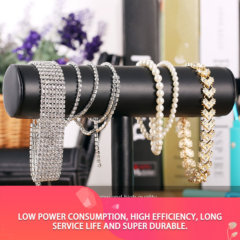Black Velvet/Leather T Bar Jewelry Rack Organizer Hard Stand Holder for Bracelet Chain Necklace Watch Fashion Display