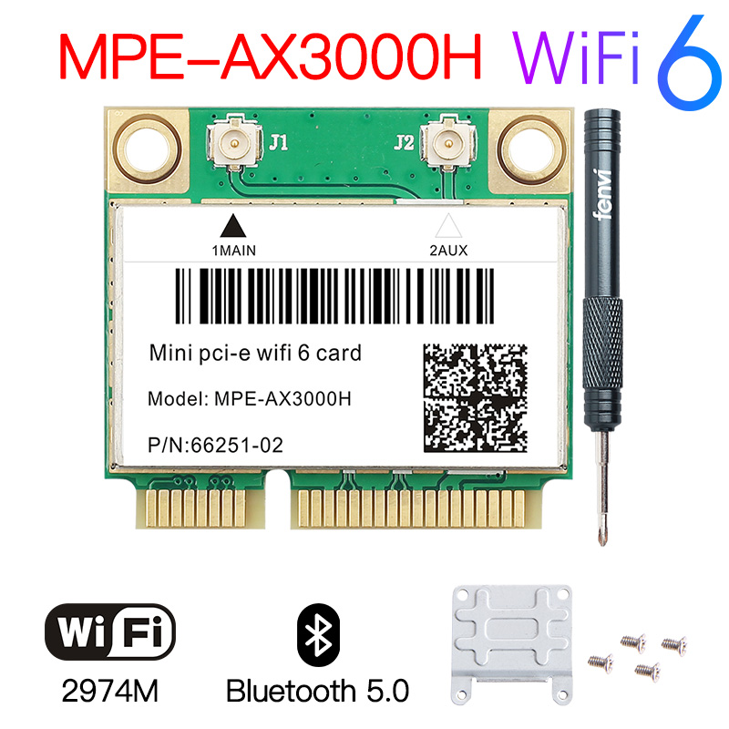Mini PCI-E WiFi6 MPE-AX3000H адаптер Беспроводной 2974 Мбит/с Bluetooth 5,0 Wi-Fi кард-802.11ax 160 МГц 2,4G/5G Wlan ключ доступа для локальной сети