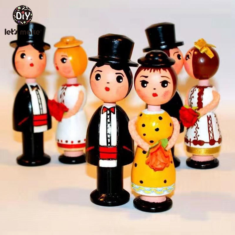 Let's Make 5pc DIY Wooden Peg Dolls Wooden Blank Unfinished Wood Dolls Bride&Bridegroom For Wedding Home Decor 67mm No Hat