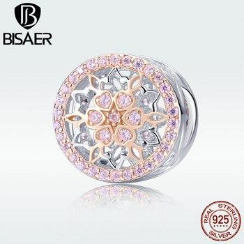 BISAER de cuentas de plata esterlina 925 para las mujeres flor bud encanto pulsera Argent joyería Femme Bijoux HSC923