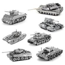 Tiger Tank T34 Tank Sherman Tank JS-2 Tank 3D Metal Puzzle Model kits DIY Laser Cut Assemble Jigsaw Toy GIFT For children 1 72 assembly tank model sherman challenger diy puzzle plastic assembly free assemble military model