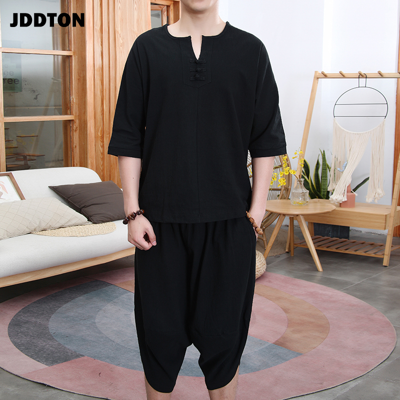 JDDTON New Summer Men Loose Cotton Linen Two-Piece Set Clothing Style Suits Outerwear Fashion Casual Loose Male Retro SuitsJE112