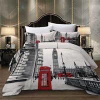 Paris tour londres ville paysage Big Ben cabine téléphonique rouge Bus impression literie ensemble couette housse de couette + taie d'oreiller US AU EU taille