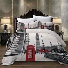 Juego de ropa de cama con estampado de torre de París, paisaje de la ciudad de Londres, Big Ben, teléfono rojo, autobús, edredón, funda de almohada, talla US, AU y EU