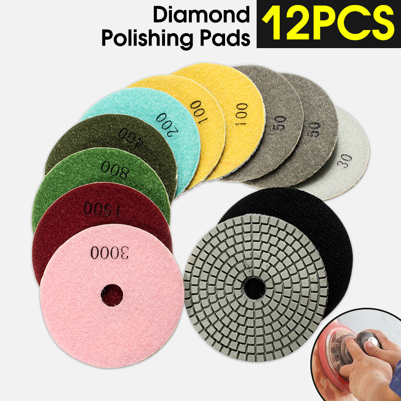 Image 2 - 12pcs/Set 4'/100mm Abrasive Tools Wet Dry Diamond Polishing Pads Sanding Disc Grinder For Granite Stone Concrete Marble Polisher-in Polishing Pads from Tools