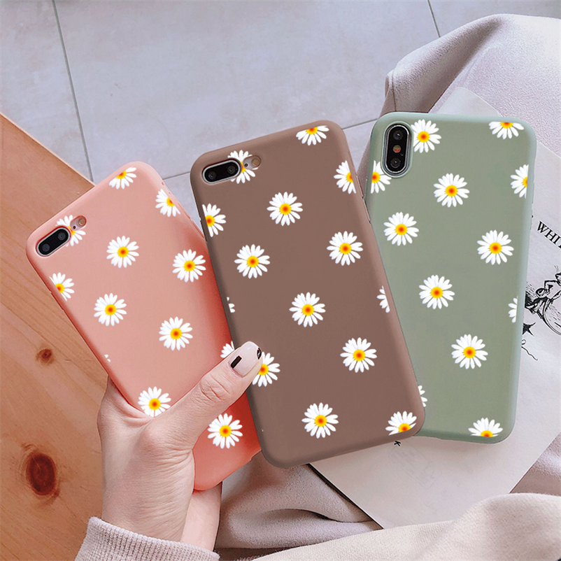 Color Matte TPU Case For Xiaomi Redmi Note 8 9 Pro 8T 9s 7 5 6 7A 8A Mi 9 SE A3 A1 5X A2 8 Lite 9T Pro F1 CC9 CC9e Flower Cover(China)