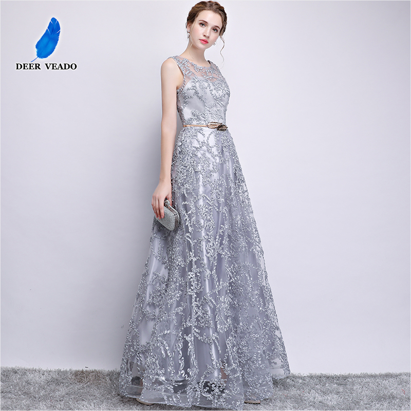 DEERVEADO Elegant Evening Dress Long A Line See Though Back Formal Dresses Women Occasion Party Dresses with Belt 2019 New YS411