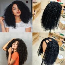 U parte peruca do cabelo humano kinky encaracolado perucas 180 250 densidade glueless pré arrancadas remy brasileiro u parte perucas para as mulheres cor natural