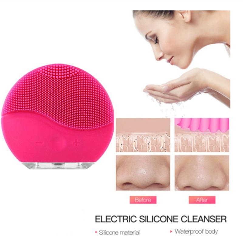 Usb rosto elétrico escova de limpeza facial ultra sônica vibração massagem limpeza profunda poros à prova dsmart água inteligente rosto mais limpo