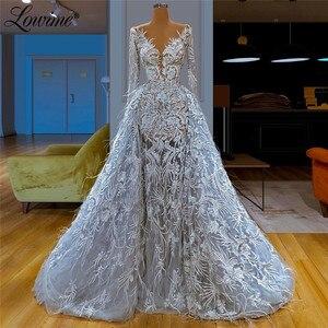 Image 1 - 라이트 블루 딥 브이 넥 깃털 레이스 이브닝 드레스 ilusion 2020 섹시 댄스 파티 드레스 두바이 아랍어 여성 웨딩 파티 가운 vestido