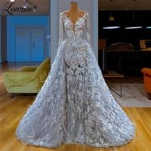 Światła niebieski głębokie V Neck Feather koronkowa suknia wieczorowa Ilusion 2020 seksowne sukienki na bal dubaj arabski kobiety suknie na przyjęcia weselne Vestido