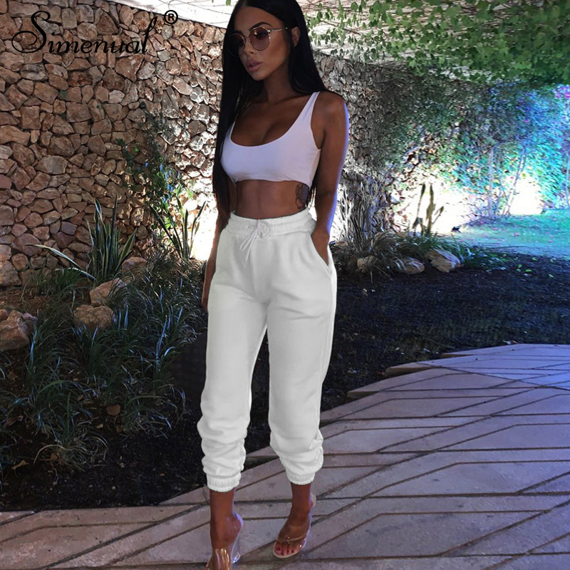 Simenual Casual Workout Women Sweatpants 2019 Autumn High Waist Joggers Fashion Solid Slim Active Wear Long Trousers Basic Femme