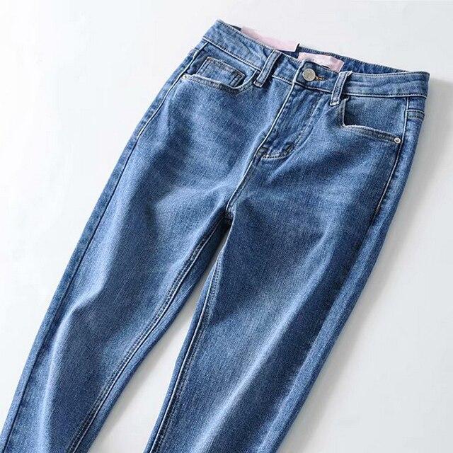 Фото женские джинсовые штаны повседневное брюки джинсы высокая талия цена
