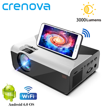CRENOVA MINI Projector G08 3000 Lumens (Optional Android G08C) Wifi Bluetooth for Phone Projector Support 1080P 3D Home Movie