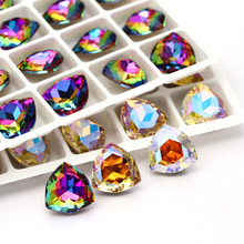 XIAOPU Iridescent Shimmer Trilliant K9 Glass Loose Rhinestones Pointback Strass Crystal Glue on Clothing Crafts DIY Jewelries
