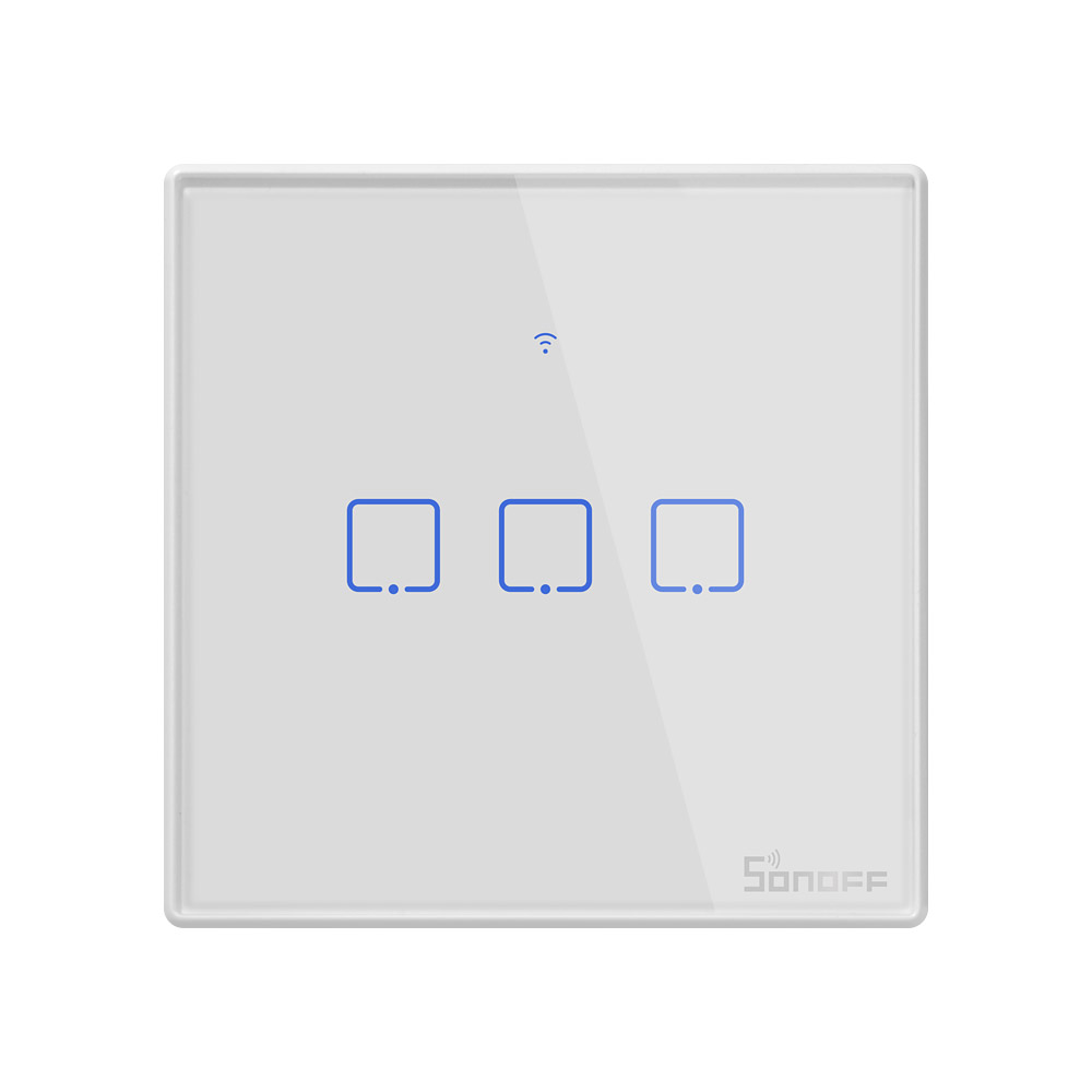 Sonoff T2 UK Smart Light touch Switch 3 Gang wall switch Touch/WiFi/RF433/APP Smart Home timer switch Work with Alexa/Google