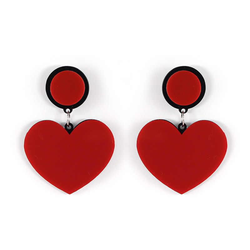 Moda tasarlanmış uzun küpe kadınlar için kırmızı kalp kişilik kore akrilik çinko alaşım güzel aksesuarları Dangle küpe