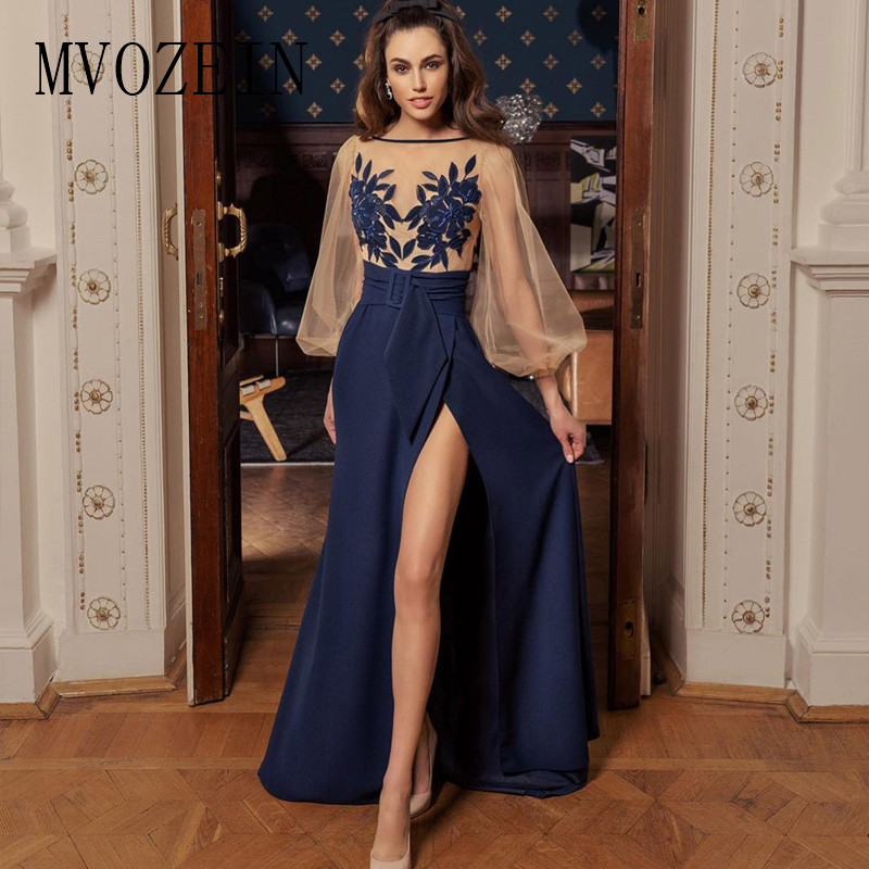 Navy Blue Prom Dress Lace Appliques A-Line Jewel Neck Full Sleeves Long Prom Dresses Formal Gowns Vestido De Festa Longo
