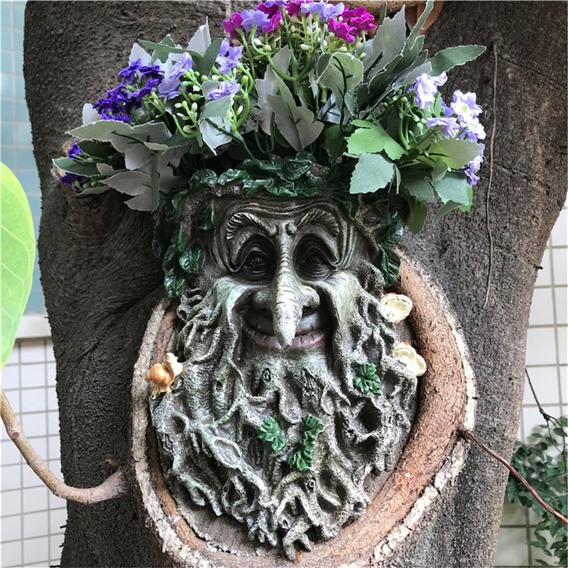 Outdoor decoration Resin Statue Tree Pendant Sculpture For Home Gardening Mushroom Smiling Face Can Put Flowers Jsys