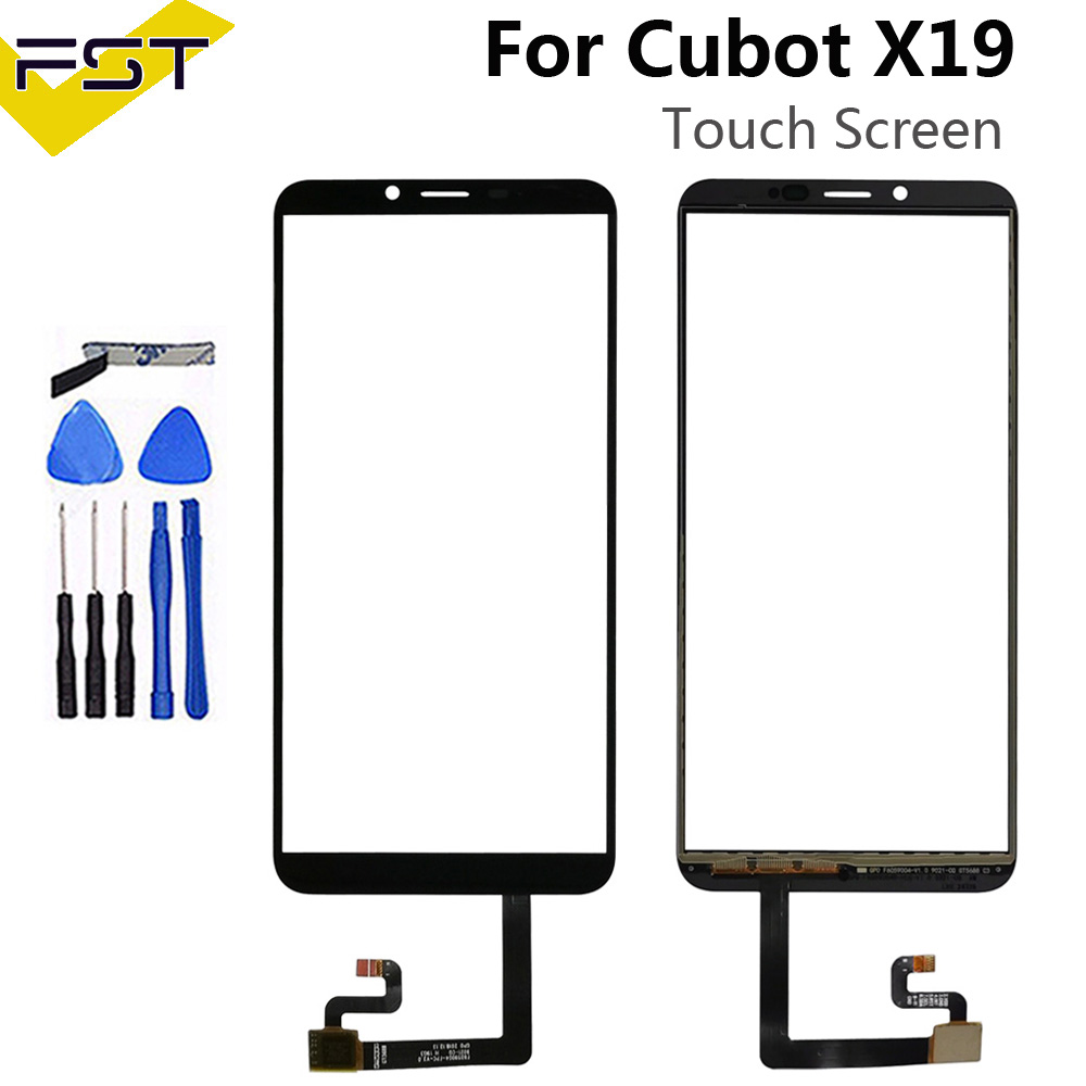 5.93''Black For Cubot X19 Front Glass Touch Screen Digitizer Sensor Touchscreen Panel For Cubot X19 Mobile Phone Parts+Tools