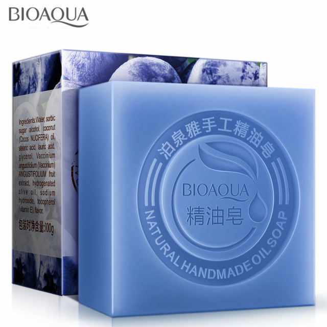Blueberry Essential Oil Handmade Soap Acne Removal Blackhead Skin Whitening Deep Cleansing Face Wash Hair Care Bath Shower Soap 1