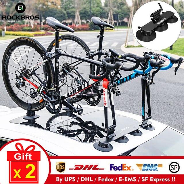 Rockbros carro telhado superior sucção transportadora rack de bicicleta para montanha mtb estrada bicicleta hub rápida instalar vácuo chuck fixação acessório