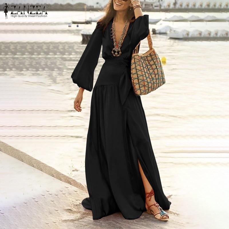 2021ZANZEA elegante de las mujeres con cuello en V profundo, de manga larga vestido de primavera Bohemia Maxi vestido largo Casual dividido bajo playa Fiesta Vestidos