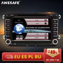AWESAFE – Autoradio 7 pouces avec GPS double Din, accessoires de voiture, lecteur DVD, pour Seat, Skoda, VW Golf 5/6, Touran, Passat B6/B7, Sharan, Jatta